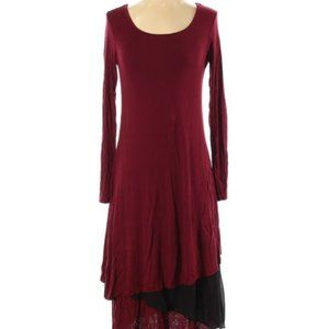 Kensie Maroon & Black Long Sleeve Layered Dress
